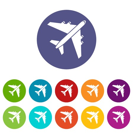 Passenger airliner set icons in different colors isolated on white background