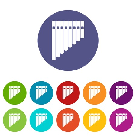 Pan flute set icons in different colors isolated on white background