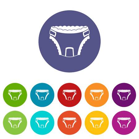 Baby diaper set icons in different colors isolated on white background