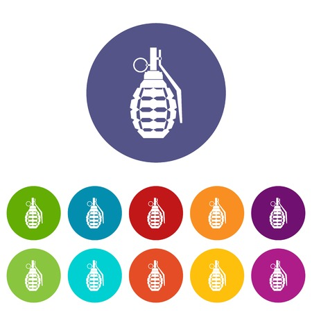 lanzamiento de bala: Hand grenade, bomb explosion set icons in different colors isolated on white background