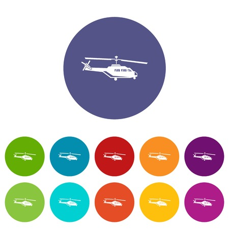 chinook: Military helicopter set icons in different colors isolated on white background Illustration