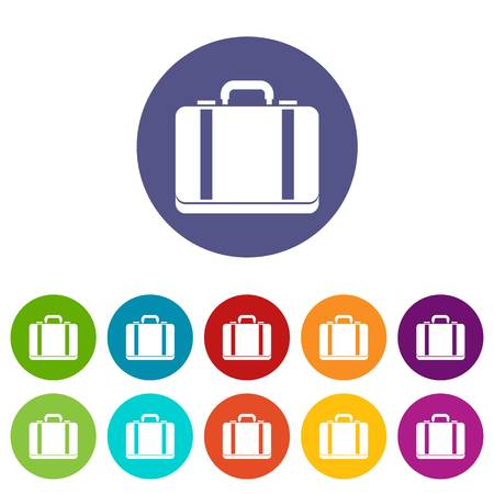 lugage: Suitcase set icons in different colors isolated on white background Illustration