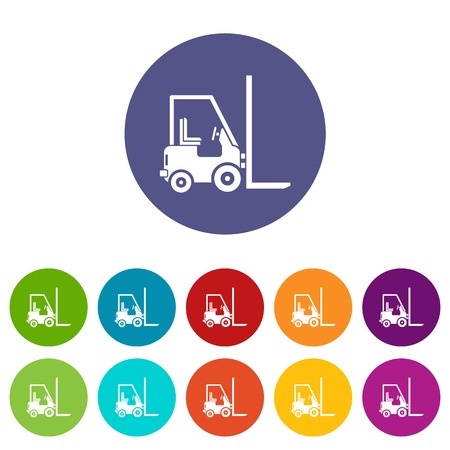 storehouse: Stacker loader set icons in different colors isolated on white background Illustration
