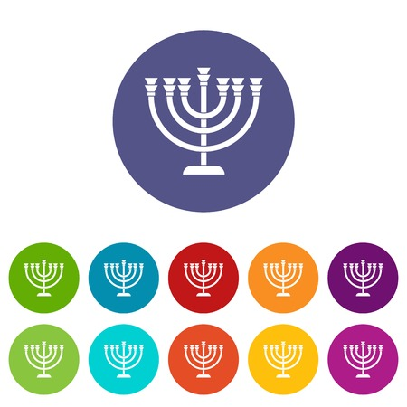 Menorah set icons in different colors isolated on white background