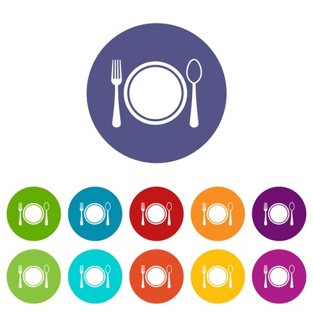 plate setting: Place setting with plate,spoon and fork set icons in different colors isolated on white background
