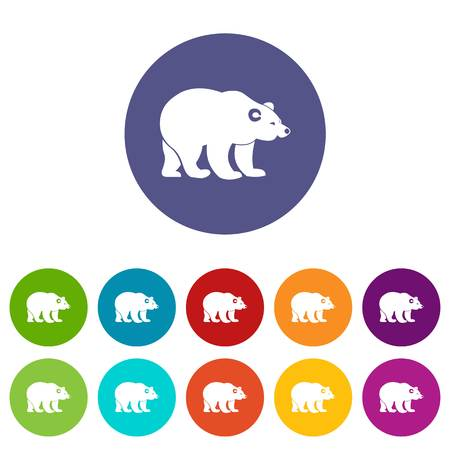 gait: Bear set icons in different colors isolated on white background Illustration