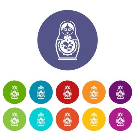 Matryoshka set icons in different colors isolated on white background