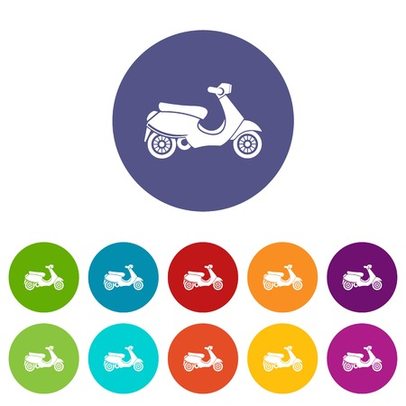 scooter set icons in different colors isolated on white background