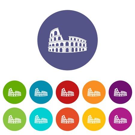 Roman Colosseum stellen Icons in verschiedenen Farben auf weißem Hintergrund