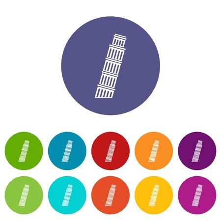 Tower of Pisa set icons in different colors isolated on white background