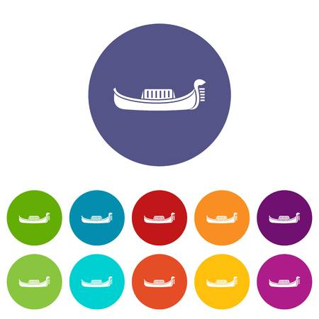 Venice gondola set icons in different colors isolated on white background