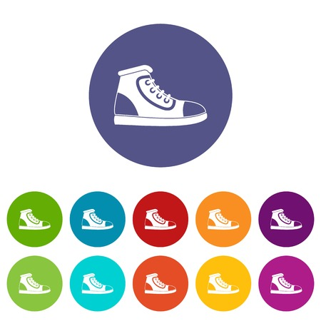 Athletic shoe set icons in different colors isolated on white background Illustration