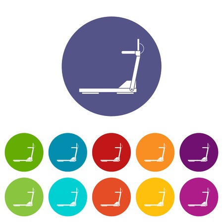 Sport treadmill running road equipment set icons in different colors isolated on white background