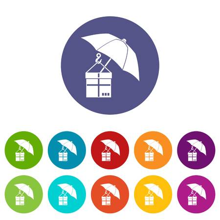 Umbrella and a cardboard box set icons in different colors isolated on white background