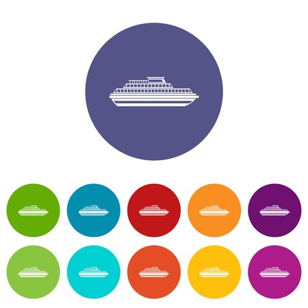 Cruise ship set icons in different colors isolated on white background
