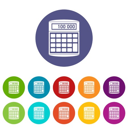 An electronic calculator set icons in different colors isolated on white background