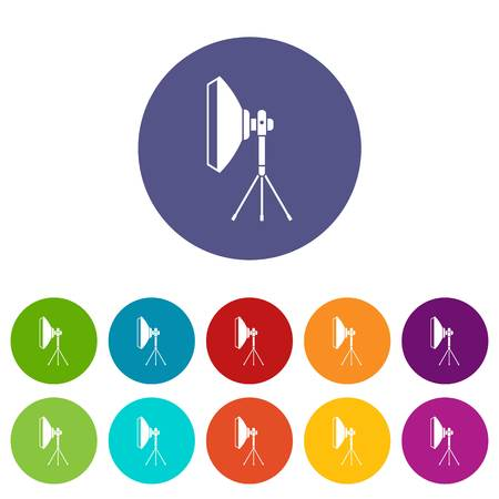 studio lighting: Studio lighting equipment set icons in different colors isolated on white background Illustration