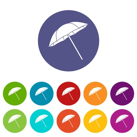 Umbrella set icons in different colors isolated on white background