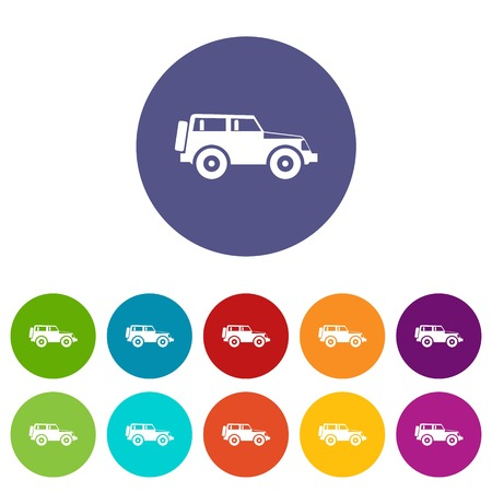 Car set icons in different colors isolated on white background