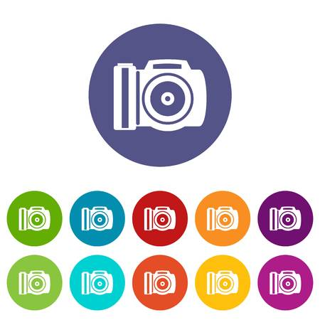 Camera set icons in different colors isolated on white background Illustration