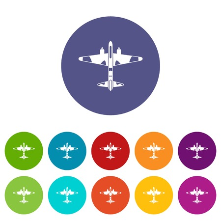 Military fighter aircraft set icons in different colors isolated on white background Illustration