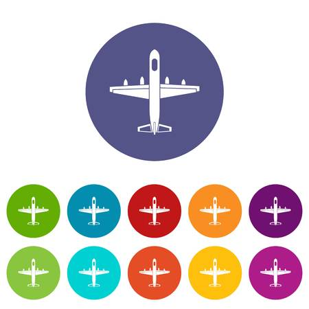 Military plane set icons in different colors isolated on white background Illustration