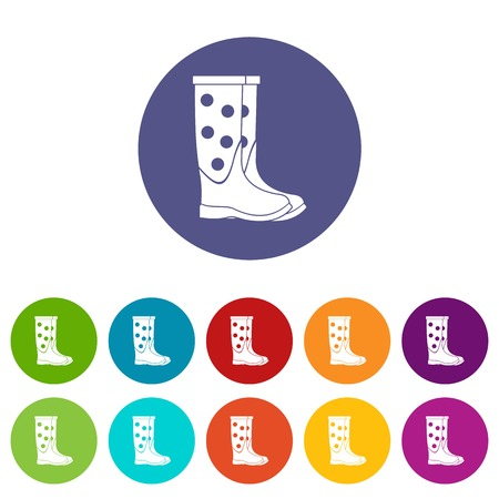 Rubber boots set icons in different colors isolated on white background