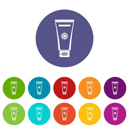 ful: Cream sun protection set icons in different colors isolated on white background Illustration