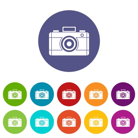 Photo camera set icons in different colors isolated on white background