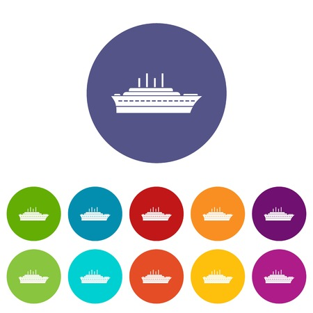 Ship set icons in different colors isolated on white background Illustration