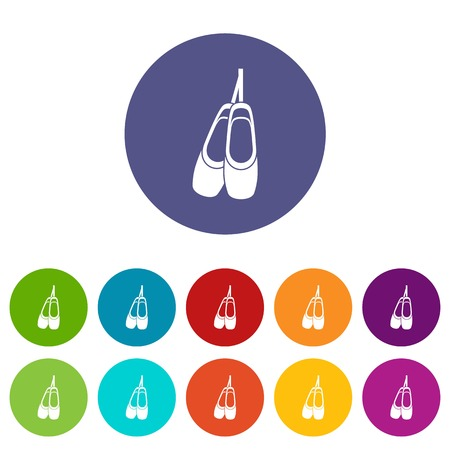 Pointe shoes set icons in different colors isolated on white background Illustration