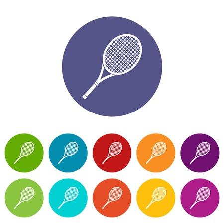 Tennis racket set icons in different colors isolated on white background Illustration