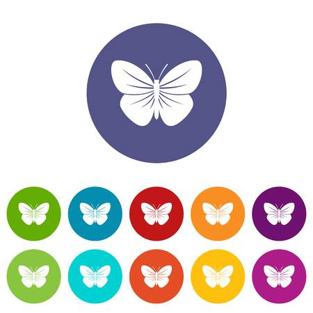 Black butterfly set icons in different colors isolated on white background Illustration