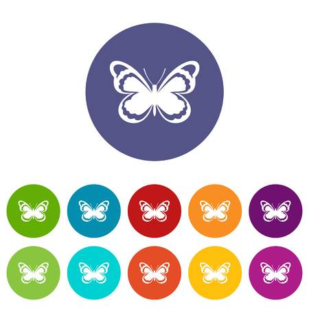 Small butterfly set icons in different colors isolated on white background