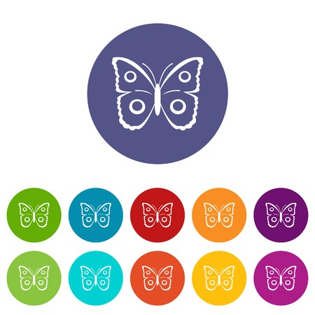 mormon: Butterfly peacock eye set icons in different colors isolated on white background