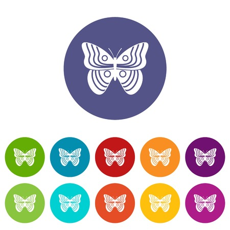 mormon: Stripped butterfly set icons in different colors isolated on white background