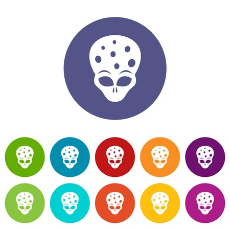 ufology: Extraterrestrial alien head set icons in different colors isolated on white background