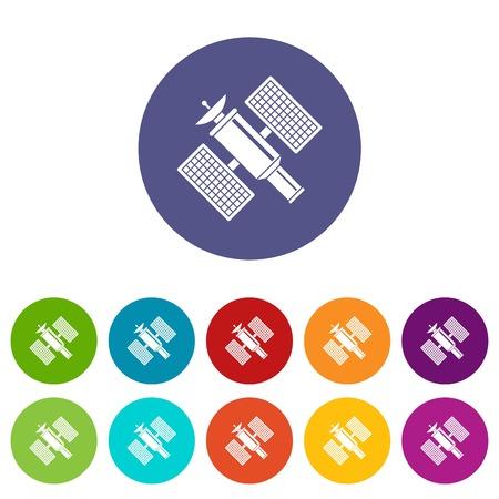 Astronautyczne satelita ustalone ikony w różnych kolorach odizolowywających na białym tle