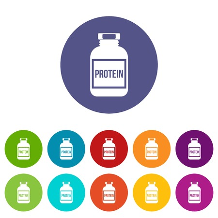 Nutritional supplement for athletes set icons in different colors isolated on white background Illustration