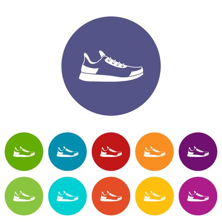 Sneaker set icons in different colors isolated on white background