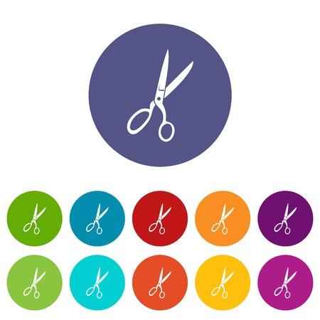 Sewing scissors set icons