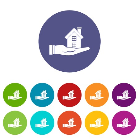 House in hand set icons Illustration