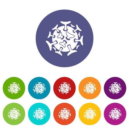 fighting cancer: Round viral bacteria set icons
