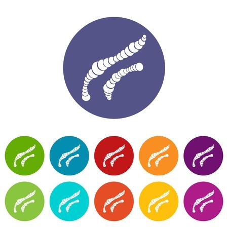 fighting cancer: Spiral bacteria set icons Illustration