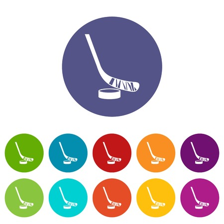 puck: Stick and puck set icons