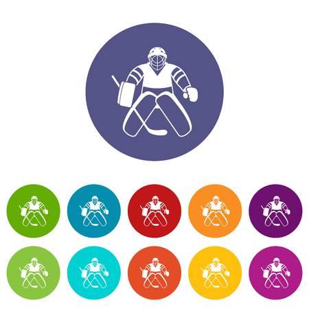 arquero: portero de hockey iconos conjunto