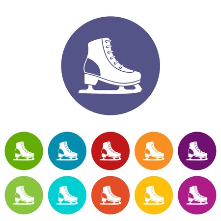 Ice skate set icons