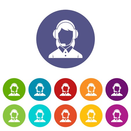 telemarketer: Business woman with headset set icons in different colors isolated on white background Illustration
