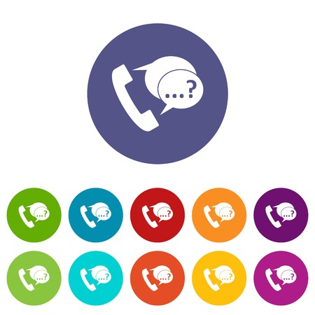 Phone sign and support speech bubbles sign set icons in different colors isolated on white background Illustration