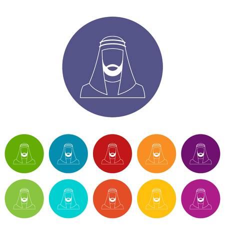 Hombre árabe en sombrero musulmán tradicional establece iconos